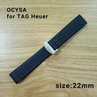 cinta de correa del cinturón al por mayor-ocysa 22mm Cinta adhesiva Cinturón negro correa de reloj correa de ajuste etiqueta heuer relojes banda