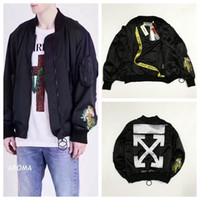Wholesale Double Collar Hoodie Men - Newest OFF WHITE Men's Tiger Embroidered Streetwar Side Double Zipper Stand Collar Jacket Hoodie Tiger Pattern Arrow OW Baseball Jacket