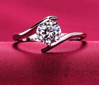 Wholesale heart bridal ring set - 2017 S925 silver wedding Anel Ring 18K real white gold plated AAA CZ Diamond 4 prong engagement wedding bridal Ring women