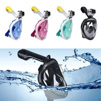 Wholesale Snorkel Tube - Full Face Snorkel Diving Mask Anti-Fog Lenses with Panoramic View Attached Snorkeling Tube Large Viewing Area Youth and Adults