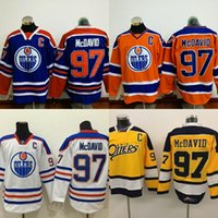 Wholesale Mens Hockey Jerseys - Edmonton Oilers Jersey Captain C Patch 97 Connor McDavid Jerseys Mens 99 Wayne Gretzky 44 Zack Kassian 27 Milan Lucic 29 Leon Draisaitl