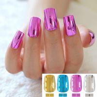 Wholesale Nail Art Toenails - 24pcs Metallic Feel Artificial Nail Art Tips Toenails Acrylic UV Gel French Finger False Nails