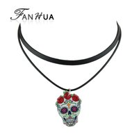 Gothic Punk Style Flower Sugar Skull Charm Necklace para mulheres Black Pu Leather MultiLayer Chain Necklace Tattoos Choker