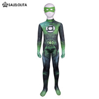Wholesale Kids Lycra Bodysuit - Children Superhero Green Lantern Halloween Cosplay Costume Kids Green Lantern Lycra Spandex Pattern Zentai Bodysuit For Child