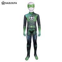 patrón lycra zentai al por mayor-Niños superhéroe Green Lantern Halloween Cosplay Costume Kids Green Lantern Lycra Spandex patrón Zentai Body para niño