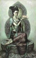 hada de la pintura al óleo de la lona al por mayor-Enmarcado, envío gratis, Dunhuang-Fairy-Avalokitesvara-Guanyin, pintura al óleo del arte puro de la artesanía en la lona los tamaños múltiples se pueden modificar para requisitos particulares R165