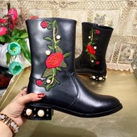 Wholesale Snow Boots Pearl - Embroidery Pearls Knee Boots for women Block heels Real leather Female Fall Winter Booties