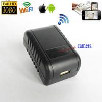 Wholesale Diy Phone Plug - 1080P WIFI USB SPY HD DIY Camera Hidden Wall Phone Charger AC Adapter Plug DVR