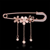 Wholesale Cheap Flower Sweaters - Wholesale- Cheap Rose Gold Safety Pin Brooch Jewelry Fashion Opal Rhinestone Brooch Flower For Women Scarves Corsage Shawls And Sweater Hot