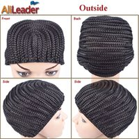 Wholesale Invisible Comb - wig making caps Fashion Cornrow Wig Caps For Making Wigs With Combs On Side 1PC Black Braided Weave Cap Invisible Mesh Hair