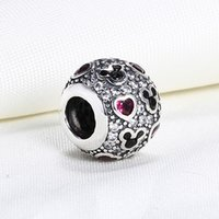 Wholesale Pandora Mouse - Wholesale Real 925 Sterling Silver Not Plated Michey Mouse Cubic Zirconia European Charms Beads Fit Pandora Snake Chain Bracelet DIY Jewelry