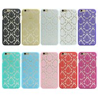 Wholesale Hard Leather Pouch Patterns - Hot New Luxury Hard Plastic Case For iphone 7 6 6S 6 Plus 6s Plus Damask Vintage Flower Pattern Cover Case For iPhone 7 Plus