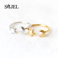 Wholesale Wholesale Moon Star Rings - Wholesale- SMJEL 2017 New Fashion Silver Color Adjustable Crescent Moon and Tiny Star Rings for Women R161