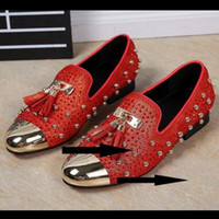 Wholesale Rhinestone Women S Dresses - 2017 Fashion Men 's Red Suede Leather Low Top Loafers Shoes Slip-on Rivets Casual Men Women Shoes ,Fashion Rhinestone Dress Shoes
