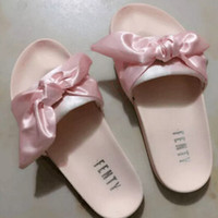 Wholesale Cotton Shoe Bags Wholesale - 2017 Fenty bowtie Rihanna Slippers Leadcat Slippers Shoes With Dust Bag Slides Women Sandals Army Green Pink Slippers