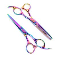 Wholesale professional scissors prices resale online - HOT SALE hair salon scissors inch or inch professional hairdressing scissors rainbow color with cheap price drop shipping