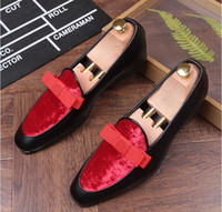 Wholesale Trendsetter Shoes - New luxury bowknot Design trendsetter pointed Bowtie Flats Shoes Male Mixed color Wedding Prom Pageant Quinceanera Business Oxford shoes