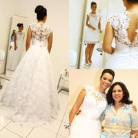Wholesale Over Sized Long Sleeves - Vintage Wedding Dresses with Removable Skirt High Neck Long Detachable Train Bridal Gowns Custom Made Over Skirts