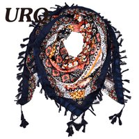 Wholesale Square Scarf Floral Print - Wholesale- 2016 New Fashion Women Square Scarf Printed Ladies Brand Wraps Hot-Sale Winter Scarves cotton from India Floral Hijab V11A11668