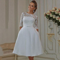 Wholesale Tea Length White Modest - Vintage Lace Short Wedding Dresses Matched Bow Sash Pocket A-Line Modest Half Sleeve Tea Length Bridal Gowns Vestidos De Noiva Custom W603