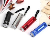 Wholesale Diving Lamps - Aluminum Alloy Portable UV Flashlight Light 9 LED Torch Light Lamp Mini Flashlight 4 Color 3004022