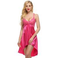 Wholesale Ladies Hot Red Night Dress - Ladies Sexy Satin Night Dress Lace Women Sleepwear Sleeveless Nighties V-neck Nightdress Sexy Nightgown Hot 6 colors