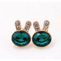 Wholesale Earring Green Rabbit - Green Color Earrings Romantic Rabbit Shape Gold Plated Dangle Fashion Earrings with Purple Zircon & Popular Antiallergic for Women Wholes