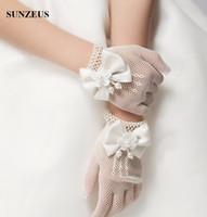 Wholesale White Gloves For Girls - White Ivory Girls Gloves Elastic Tulle Children Gloves For Wedding Wrist Length Finger Kids Wedding Gloves Short