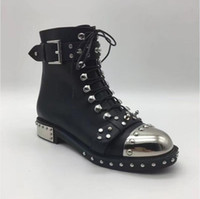 Wholesale Lace Up Studded Boots - 2017 Punk style Boots women rivets studded leather Ankle Boots Round toe side lace up Strap buckled martin short boots