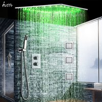 Wholesale 24 Inch Shower Head Led - 2017 Bathroom Big Rainfall Shower Faucets Set 24 Inch LED Shower Head 304 SUS Brushed with massage body jet 4 inch thermostatic mixer