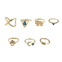 Wholesale Vintage Turquoise Engagement Rings - Vintage Midi Rings Punk Moon Arrow Ring Set Ethnic Carved Boho Midi Finger Ring Knuckle Charm Turquoise Rings