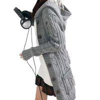 uzun hırka ceketi toptan satış-Toptan-Kadınlar Uzun Kollu Kış Sıcak Kazak Örme Hırka 2016 Moda Gevşek Kazak Dış Giyim Ceket Kaban