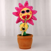 Wholesale Dancing Plush - Sexy Musical Plush Flower Dancing Singing Sunflower Playing Saxophone Song 35cm Flashing Face Stuffed Plant Big Red Mouth Rotated Plush Toy