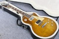 lojas de chá venda por atacado-Custom Shop Chá Gelado Chama Tigre Top Light Brown Standard 59 Guitarra Elétrica Jimmy Page VOS No. Dois Transporte da Gota