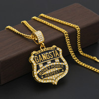 Wholesale Dog Chain Long - Brand New 18K Gold Plated Mens Bling Crystal GANSTA Medal Pendant Necklace Long Hip Hop Cuba Chain Man Jewelry