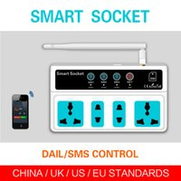 Wholesale Switch Sim Card - Free shipping SC3-GSM GSM SIM Card Phone Call SMS Remote Control Universal Wireless Smart Socket power Switch 4 Outlets Ann
