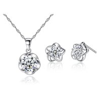 Simple Fashion Women Daily Charmant bijoux en or blanc plaqué AAA CZ Flower Earrings Studs Ensemble de collier pour filles Femmes