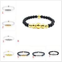 Wholesale Ancient Gold Beads - Ancient Yoga silver gold nature stone agate bead bracelets wristband for women men fashion jewelry gift