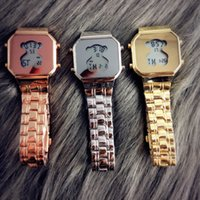 Wholesale dial led - Fashion TO Bear style Brand Women's Girls LED Digital display dial Stainless steel band Quartz wrist Watch T05
