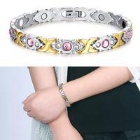 Wholesale Refine Gold - Refined Fashion Bracelet Jewelry Energy Health Magnetic Charm Bracelets for Women Charm Balance Bracelets & Bangles B807S