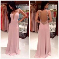 Wholesale Sheer Straps - 2018 Sexy Backless Pink Mermaid Prom Dresses Deep V-Neck Sheer Straps Beaded Pearls Chiffon Long Party Dresss