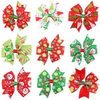Wholesale Merry Christmas Green - merry christmas   red and green and white color   girl hairbow with clip   Christmas bow