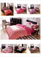 Wholesale Velvet Bedding Sets - Hot Pink Bedding Set Pink Letter Bed Sheet Sexy Pink Pillowcases Flannel Duvet Covers Velvet Bedclothes Set Fashion Bedding Home Textile