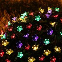 Wholesale Lighting Peach Tree - Solar Power Fairy String Lights 7M 50 LED LederTEK Peach Blossom Decorative Garden Lawn Patio Christmas Trees Wedding Party