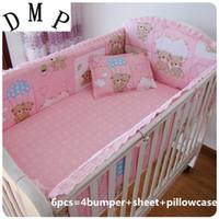 beşik çarşafları toptan satış-Promosyon! 6 ADET bebek beşik yatak takımları Yata Beşik Yatak Seti Bebek yatak keten, dahil (4 tamponlar + levha + yastık kılıfı)