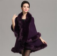 Wholesale Womens Hooded Fur Cape - Women High Quality Fake Fox Fur Collar Wool Cashmere Poncho Capes Knitted Cardigan Womens Capes and Ponchos Fashion Fake Fox Fur Collar