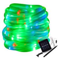 ingrosso stringa del tubo chiaro di potenza solare-Caldo bianco rosso giallo RGB Solare LED String Lights Outdoor tubo Led Led stringa fata alimentato ad energia solare per il giardino recinzione paesaggio