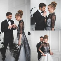 Wholesale China Made Shirts - Vintage Black And White Wedding Dresses With Half Sleeves 2017 Cheap Shirt Collar Lace Tulle Long Bridal Gowns Custom Made China EF4202