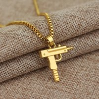 Wholesale Men Pendant Gun - 1pc Men's Metal Army Gun Rifle Chain Pendant Necklace Men Accessories for boyfriend birthday gift free shipping