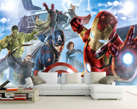 Wholesale wall interior decor - Avengers Boys Bedroom Photo Wallpaper Custom 3D Wall Murals Marvel Comics wallpaper Children's room Interior Design Room decor